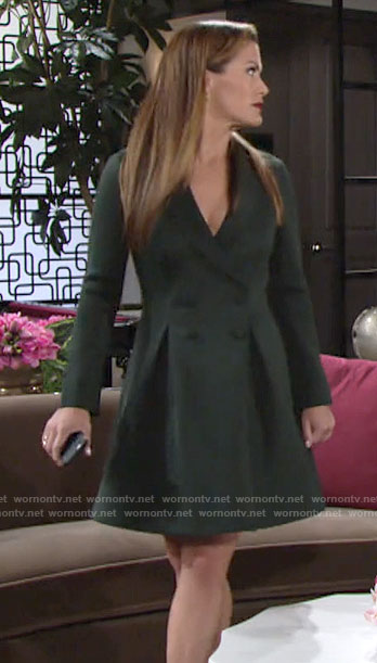 Chelsea's green double-breasted dress on The Young and the Restless