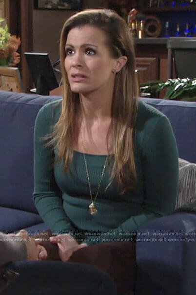 Chelsea's green square neck sweater on The Young and the Restless