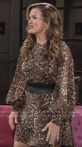 Chelsea's long sleeve leopard print dress on The Young and the Restless