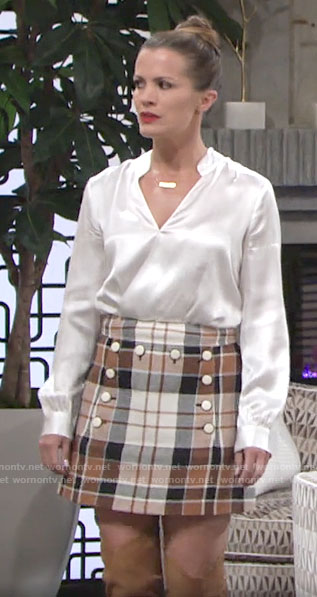 Chelsea's plaid skirt and white blouse on The Young and the Restless