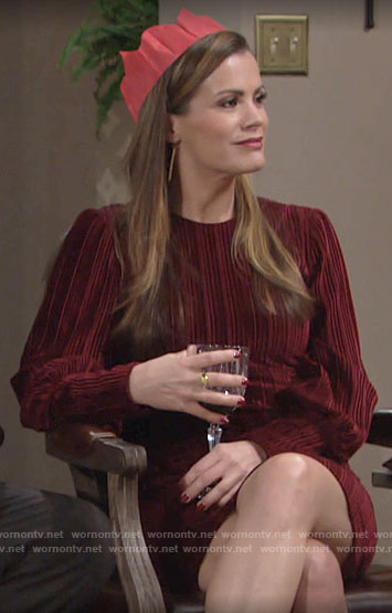 Chelsea's red velvet Thanksgiving dress on The Young and the Restless