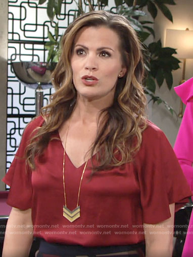 Chelsea's red v-neck blouse on The Young and the Restless
