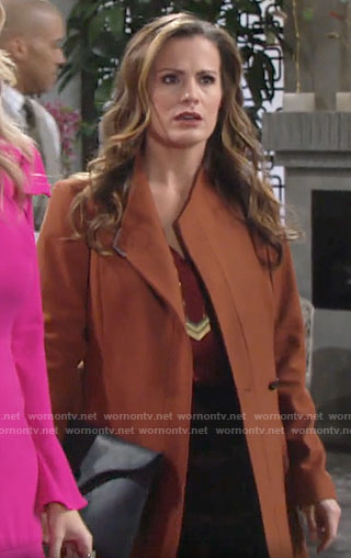 Chelsea's tan wrap coat on The Young and the Restless