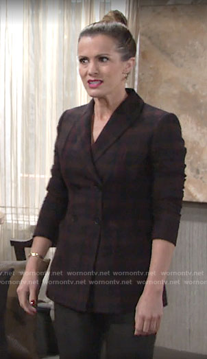 Chelsea's plaid double-breasted blazer on The Young and the Restless