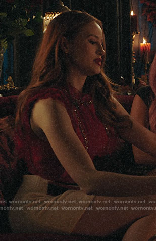 Cheryl's red embellished top and white skirt on Riverdale