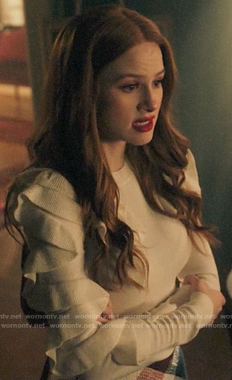 Cheryl's white ruffled sleeve sweater on Riverdale