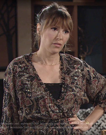 Chloe's metallic paisley print dress on The Young and the Restless