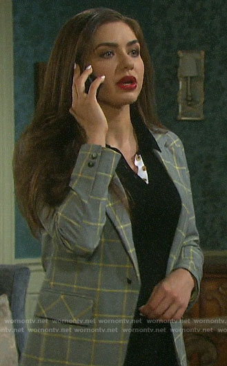 Ciara's grey plaid blazer on Days of our Lives