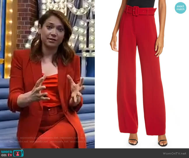 Eliza High Waist Belted Crepe Pants by Cinq a Sept worn by Ginger Zee  on Good Morning America