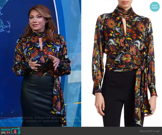 Jacqueline Paisley Silk Top by Cinq a Sept worn by Ginger Zee  on Good Morning America