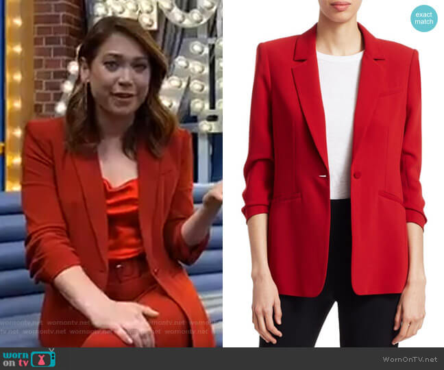 Khloe Crepe Ruched Blazer by Cinq a Sept worn by Ginger Zee  on Good Morning America