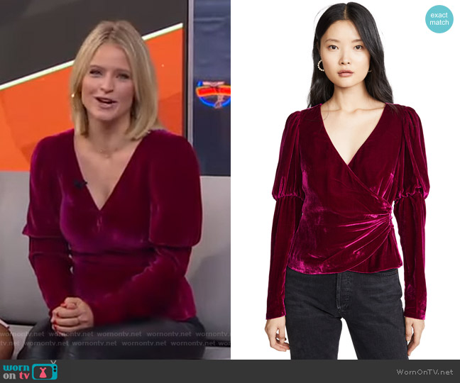 Theo Velvet Wrap Top by Cinq a Sept worn by Sara Haines  on Good Morning America