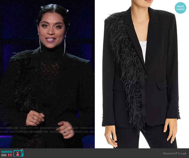 Cinq a Sept Portia Feather Blazer worn by Lilly Singh  on A Little Late with Lilly Singh