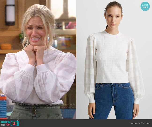 Club Monaco Woven Sleeve Crewneck Sweater worn by Gemma (Beth Behrs) on The Neighborhood