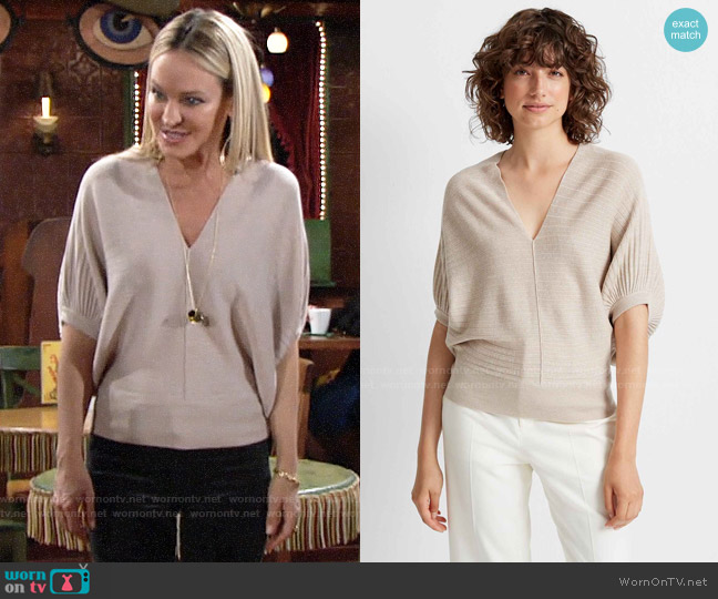 Club Monaco Dolman Sleeve V-neck Sweater worn by Sharon Collins (Sharon Case) on The Young & the Restless