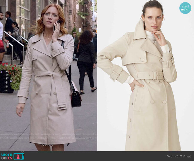 Club Monaco Janney Trench worn by Julia Bechley (Brittany Snow) on Almost Family