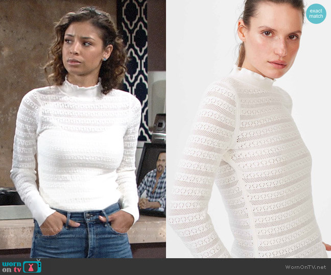 Club Monaco Kavie Sweater worn by Elena Dawson (Brytni Sarpy) on The Young & the Restless