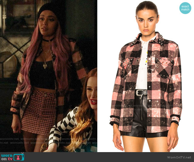 Coach 1941 Studded Plaid Top worn by Toni Topaz (Vanessa Morgan) on Riverdale