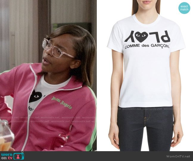 Comme Des Garcons PLAY Logo Tee worn by Diane Johnson (Marsai Martin) on Blackish