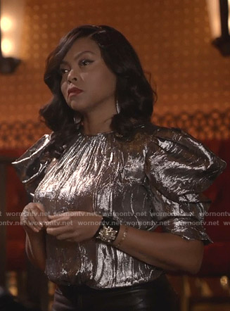 Cookie's metallic puff sleeve top on Empire