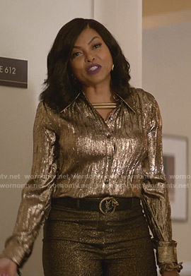 Cookie's metallic shirt and pants on Empire