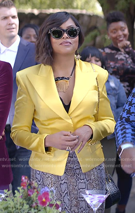 Cookie's yellow blazer and snake print skirt on Empire