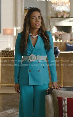 Cristal's turquoise suit on Dynasty