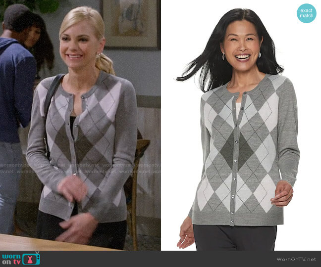 Croft & Barrow Button Front Cardigan in Barely Pink Argyle worn by Christy Plunkett (Anna Faris) on Mom