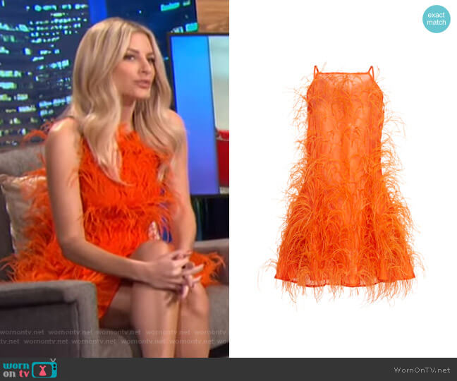 Shannon Feather-Embellished Silk-Tulle Mini Dress by Cult Gaia worn by Morgan Stewart  on E! News