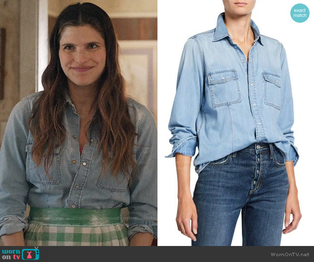 Current/Elliott Surfwood Shirt worn by Rio (Lake Bell) on Bless This Mess