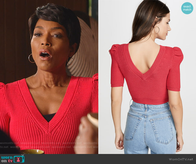 Cropped Pleated Knit Top by Cushnie worn by Athena Grant (Angela Bassett) on 9-1-1