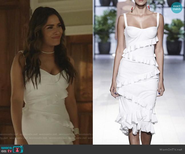 Jezebel Ruffled Dress by Cushnie worn by Cristal Jennings (Daniella Alonso) on Dynasty