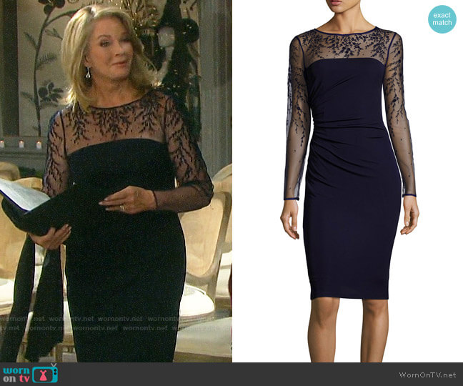David Meister Long-Sleeve Jersey Illusion Cocktail Dress worn by Marlena Evans (Deidre Hall) on Days of our Lives