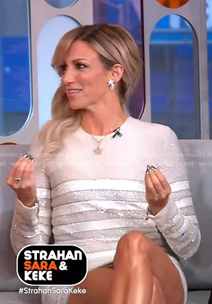 Debbie Gibson's metallic striped mini dress on GMA Strahan Sara And Keke