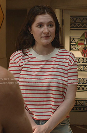 Debbie's red and white striped cropped tee on Shameless