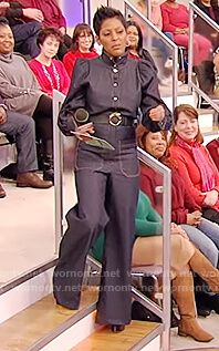 Tamron's denim tie waist jumpsuit on Tamron Hall Show