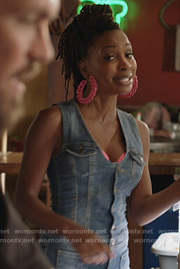 Veronica's denim sleeveless jumpsuit on Shameless