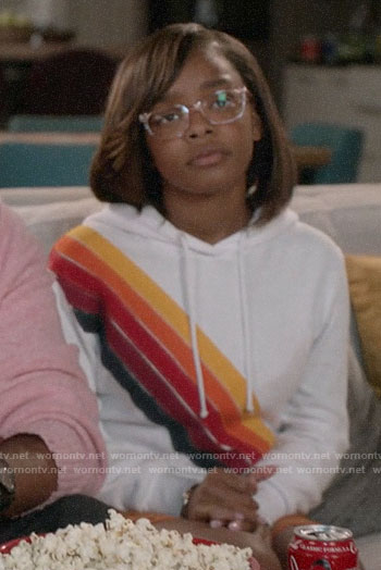 Diane's diagonal stripe hoodie on Black-ish