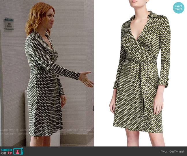Diane von Furstenberg New Jeanne Two Geo-Print Wrap Dress worn by Julia Bechley (Brittany Snow) on Almost Family