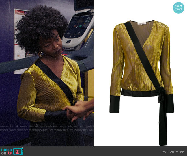 Diane von Furstenberg Velvet Wrap Top worn by Briana Johnson (MaameYaa Boafo) on Bluff City Law