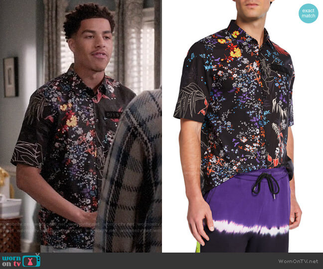 Diesel Graphic Floral Short-Sleeve Sport Shirt worn by Andre Johnson Jr (Marcus Scribner) on Blackish