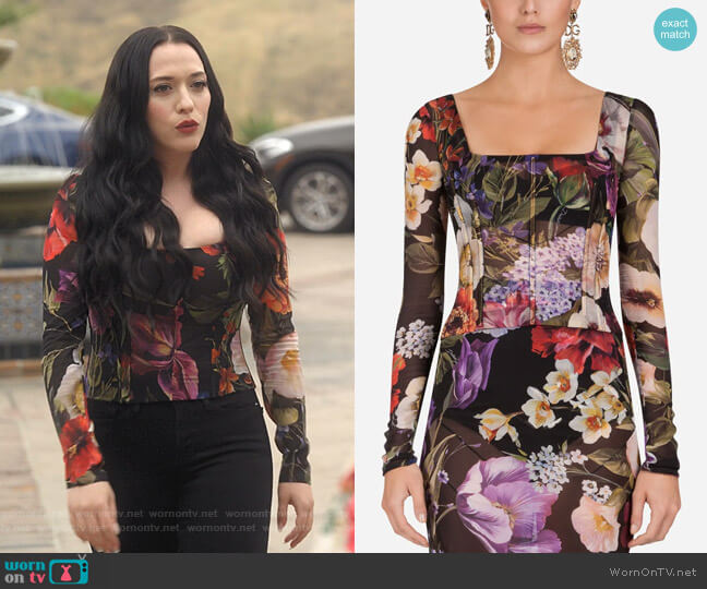 Floral-Print Silk Bustier Top by Dolce & Gabbana worn by Jules Wiley (Kat Dennings) on Dollface