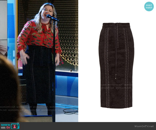 Dolce & Gabbana Lace-Up Jacquard Midi Pencil Skirt worn by Kelly Clarkson on The Morning Show