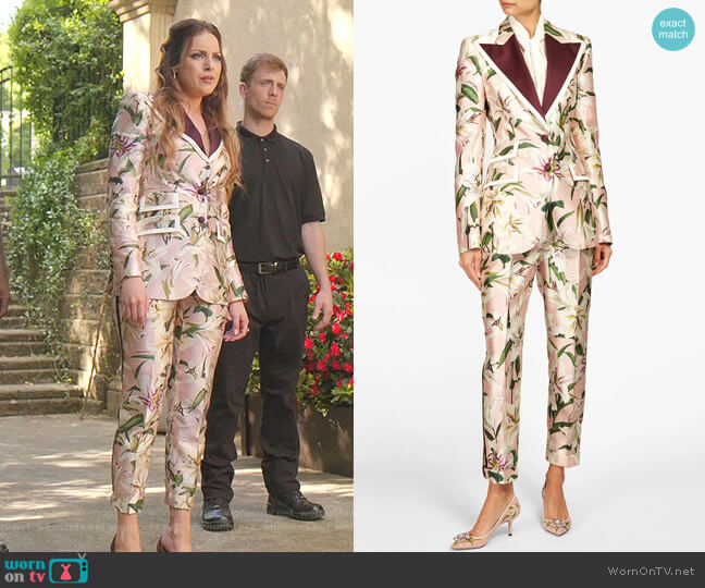 Floral-Print Shantung Blazer and Shantung Trousers by Dolce & Gabbana worn by Fallon Carrington (Elizabeth Gillies) on Dynasty
