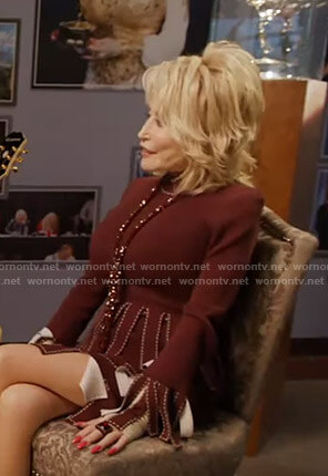 Dolly Parton's burugundy fringed top and skirt on Good Morning America