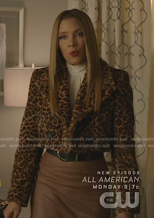 Dominique's leopard print cropped jacket on Dynasty