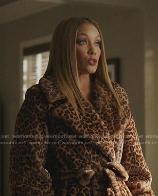 Dominique's leopard print wrap coat on Dynasty