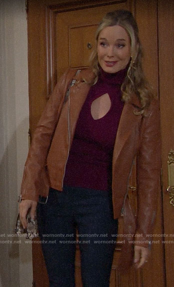 Donna's purple turtleneck with cutouts and tan leather jacket on The Bold and the Beautiful