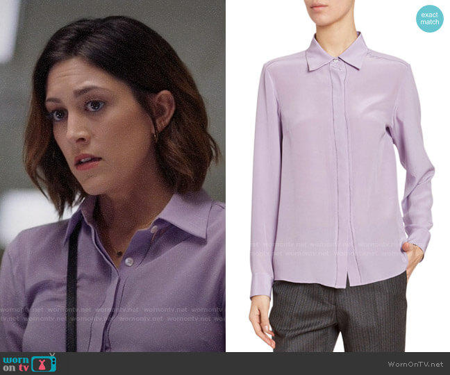 Dries van Noten Silk Button-Front Blouse worn by Sydney Strait (Caitlin McGee) on Bluff City Law