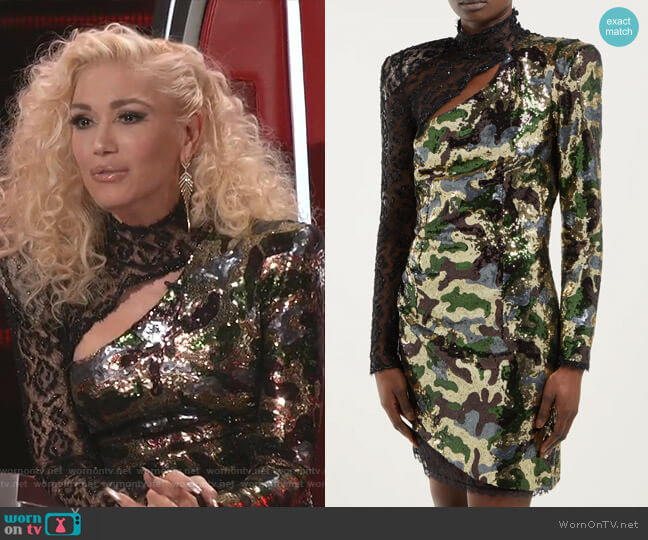 Camouflage and Leopard-Lace Sequinned Mini Dress by Dundas worn by Gwen Stefani  on The Voice